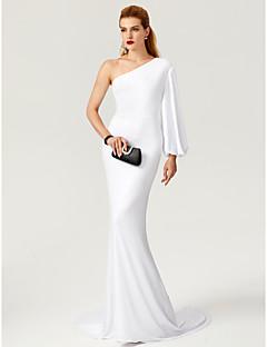 マーメイド/トランペットtscouture®によるショルダースイープ/ブラシトレインジャージーフォーマルイブニングドレス