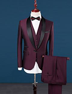 Χαμηλού Κόστους Office Outfits-Ανδρικά Μεγάλα Μεγέθη Στολές Απλός Βίντατζ - Μονόχρωμο, Patchwork Κλασικό Πέτο Λεπτό