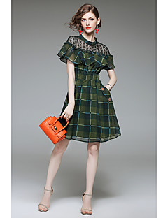 hesapli QIN QIN-Kadın's A Şekilli Kılıf Elbise - Ekose, Fırfırlı