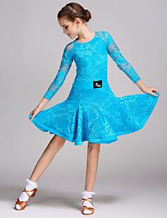tanie Dziecięca odzież do tańca-Taniec latynoamerykański Suknie Szkolenie Koronka Łączenie Długi rękaw Naturalny Ubierać