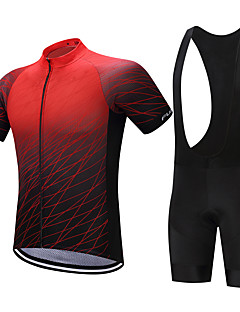 6043683b7 FUALRNY® Men s Short Sleeve Cycling Jersey with Bib Shorts - Black   Red  Gradient Bike Clothing Suit Quick Dry Sweat-wicking Sports Polyester  Coolmax® ...
