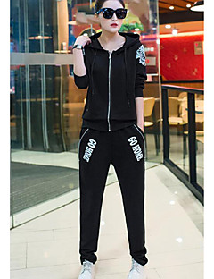 Women's Daily Casual Spring Fall Hoodie Pant Suits,Solid Letter Hooded Long Sleeve Polyester
