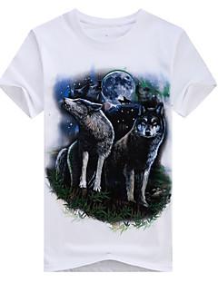 billige Herremote og klær-Bomull Tynn Rund hals Store størrelser T-skjorte - Ensfarget, Trykt mønster Helg Herre