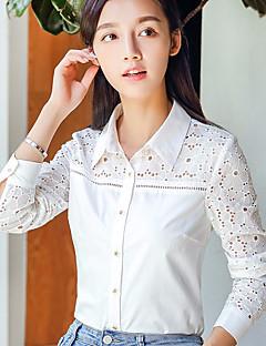 Damen Solide Einfach Lässig/Alltäglich Hemd,Quadratischer Ausschnitt Langarm Baumwolle