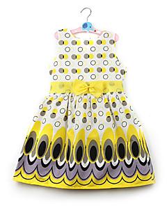billige Pigekjoler-Børn Baby Pige Simple Aktiv Sød Farveblok Sløjfer Trykt mønster Uden ærmer Kjole