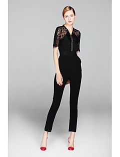 ZIYI Women's High Rise Work Going out JumpsuitsSimple Slim Lace Cut Out Solid Summer