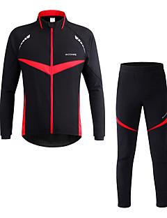 billige Sykkelklær-WOSAWE Langermet Sykkeljakke med bukser - Rød Sykkel Klessett, Vindtett, Refleksbånd Polyester Lapper