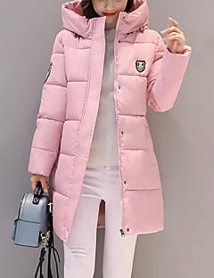 Damen Gefüttert Mantel,Lang Street Schick Übergröße Lässig/Alltäglich Solide-Nylon Polypropylen Langarm