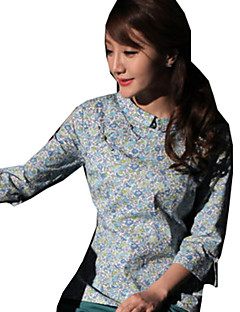 Bluse/Skjorte Klassisk og Traditionel Lolita Lolita Cosplay Lolita Kjoler Blå Rød Grøn Kaffe Trykt mønster Kortærmet Lolita Bluse Til