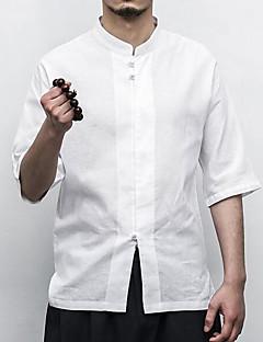 رخيصةأون تصفية-EU-رجالي قطن / كتان قميص النمط الصيني لون سادة, عمل / مرتفعة