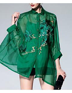 billige Skjorte-Dame - Blomstret Skjorte Silke