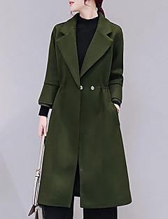 Dames Eenvoudig Herfst Winter Trenchcoat,Uitgaan Effen V-hals Driekwartmouw Lang Polyester