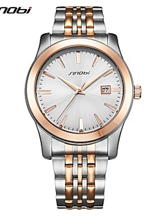 billige Luksus Ure-SINOBI Herre Quartz Armbåndsur Japansk Chok Resistent Rustfrit stål Bånd Luksus Afslappet Mode Sølv