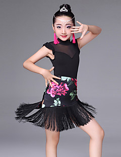 Shall We Latin Dance Outfits Kid's Splicing Sleeveless Headpieces Earrings
