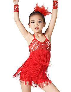 cheap Jazz Dance Wear-Latin Dance Outfits Women's Children's Performance Elastic Elastane Sequined Lycra Tassel(s) Paillette Sleeveless Natural Dresses