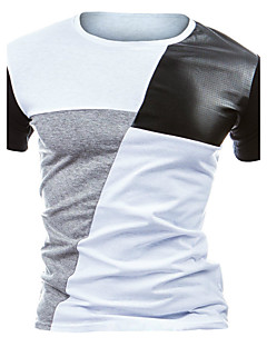 Men's Casual/Daily Active All Seasons T-shirt,Color Block Round Neck Short Sleeve Cotton Polyester Medium