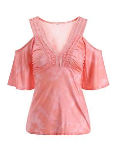 economico Top da donna-T-shirt Per donna Traforato, Semplice Collage A V - Poliestere