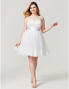 Princess Fit & Flare Illusion Neckline Knee Length Tulle Cocktail Party Homecoming Dress with Appliques Pearl Detailing Sash / Ribbon