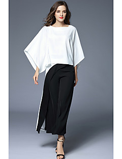 Women's Business Formal Vintage Simple Sophisticated Spring Fall T-shirt Pant Suits,Solid Round Neck 3/4-Length Sleeve Inelastic