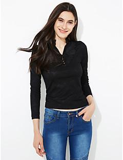 여성 솔리드 스탠드 긴 소매 티셔츠,심플 데이트 화이트 / 블랙 / 옐로 폴리에스테르 가을 / 겨울 중간