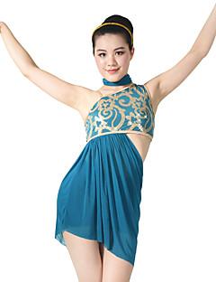 tanie Stroje baletowe-Balet Outfits Damskie Wydajność Z cekinami Lycra Cekin Fałdki boczne Bez rękawów Naturalny Top Neckwear