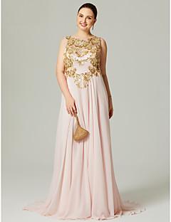저렴한 특별한 이벤트 드레스-A-라인 쥬얼리 스윕 / 브러쉬 트레인 쉬폰 포멀 이브닝 / 홀리데이 드레스 와 스팽글 아플리케 주름 으로 TS Couture®