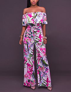 Women's Work Going out Casual/Daily Simple Sexy Print Flower Boat Neck Jumpsuits,Wide Leg Short Sleeve Summer Fall Cotton