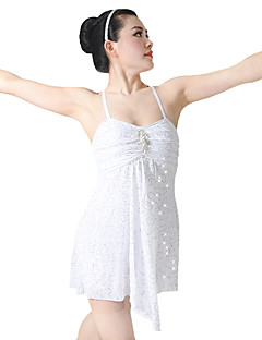 cheap Ballet Dance Wear-Performance Dresses Women's Performance Spandex Sequined Lycra Paillette Crystal Floral Pin Ruffles Sleeveless High Leotard/Onesie Dress