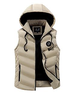 コート レギュラー パッド入り メンズ,カジュアル/普段着 ソリッド ストライプ コットン コットン-シンプル ノースリーブ