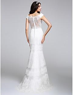billiga Trumpet-/sjöjungfrubrudklänningar-Trumpet / sjöjungfru V-hals Golvlång Heltäckande spets Bröllopsklänningar tillverkade med Spets av LAN TING BRIDE® / Genomskinliga