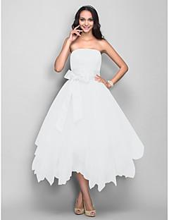baratos Vestidos de Formatura-Princesa Sem Alças Longuette Cetim / Tule Coquetel / Baile de Formatura Vestido com Laço(s) / Faixa / Fita de TS Couture®