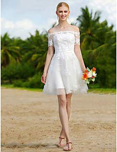 cheap Plus Size Wedding Dresses-A-Line Off Shoulder Short / Mini Tulle Custom Wedding Dresses with Appliques Sashes/ Ribbons by LAN TING BRIDE®