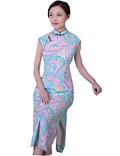 Et-Stykke/Kjoler Klassisk og Traditionel Lolita Vintage Inspireret Cosplay Lolita Kjoler Vintage Trykt mønster Uden ærmer Cheongsam Til