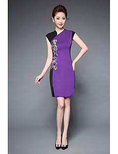 YBKCP Women's Party Plus Size Work Sheath DressEmbroidery Asymmetrical Knee-length Short Sleeve Terylene Spring Summer Mid Rise Micro-elastic