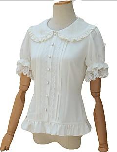 cheap Lolita Fashion Costumes-Casual Lolita Dress Vintage Inspired Women's Girls' Blouse/Shirt Cosplay White Short Sleeves