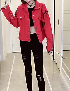 Damen Druck Einfach Niedlich Ausgehen Lässig/Alltäglich Jeansjacke,Hemdkragen Herbst Winter Lange Ärmel Standard Andere