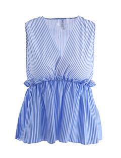 billige -Bomull Polyester V-hals Singleter - Stripet, Blondér Dame