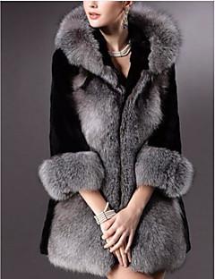Feminino Casaco de Pêlo Casual Simples Inverno,Sólido Longo Outros Com Capuz Manga Longa