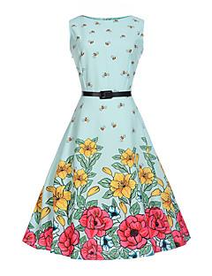 billige Pigekjoler-Pigens Kjole Mode, Bomuld Polyester / Bomuld Blanding Sommer Uden ærmer Blomster Tegneserie Lyseblå