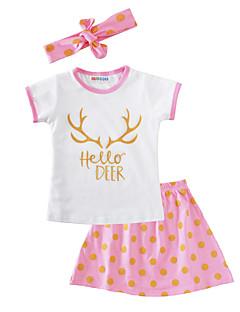 billige Tøjsæt til piger-Pige Tøjsæt Prikker, Bomuld Sommer Kortærmet Punkt Hvid