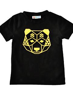 Gutt T-skjorte Trykt mønster Bomull Sommer Kortermet Normal