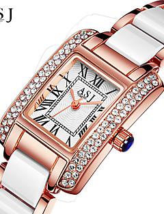 お買い得  有名ブランド腕時計-ASJ 女性用 リストウォッチ 日本産 耐水 / クリエイティブ 合金 / セラミック バンド 光沢タイプ シルバー / ローズゴールド