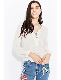 Χαμηλού Κόστους Chic Shirts-Γυναικεία Μπλούζα Παραλία Μονόχρωμο Λαιμόκοψη V
