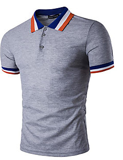 Men's Casual/Daily Simple Polo,Striped Shirt Collar Short Sleeves Cotton
