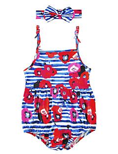billige Babytøj-Baby Børne En del Blomstret Stribe, Bomuldsblanding Sommer Uden ærmer Blomster Stribet Rosa