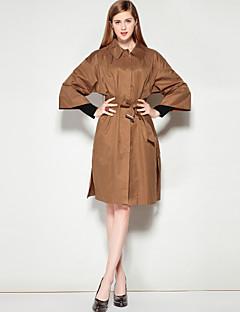 Dames Eenvoudig Herfst Winter Jas,Uitgaan Casual/Dagelijks Effen Overhemdkraag Halve mouw Normaal Katoen Polyester Nylon