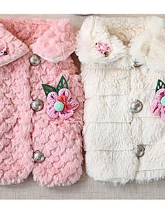 billiga Hundkläder-Hund Kappor Hundkläder Blommig / Botanisk Vit / Rosa Syntetisk Kostym För husdjur Ledigt / vardag