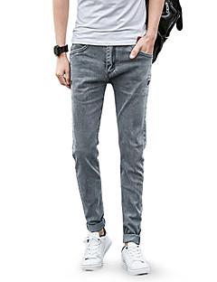 billige Herrebukser og -shorts-Herre Bomull Skinny / Jeans Bukser - Ensfarget Lyseblå