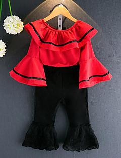 Mädchen Sets Streifen Patchwork Baumwolle Kunstseide Frühling Herbst ¾ Ärmel Kleidungs Set