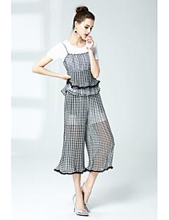 Χαμηλού Κόστους ZRANFANG-Γυναικεία Κομψό στυλ street T-shirt - Καρό / Τετραγωνισμένο Παντελόνι